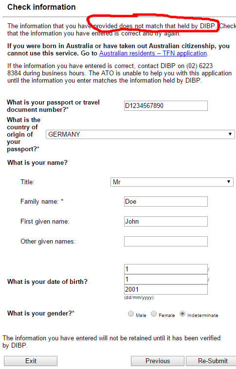 Australian Tax File Number Application - 4. Step